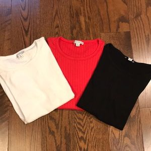 3 J Crew Factory Ribbed T Shirts RED BLACK WHITE